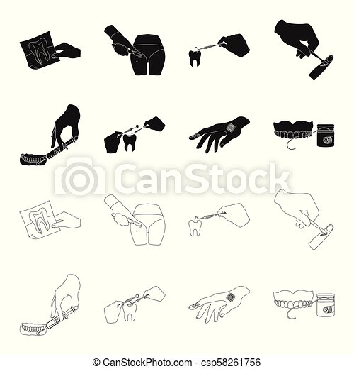 Anesthetic injection, dental instrument, hand manipulation, tooth cleaning and other web icon in black,outline style.bactericidal plaster, medicine icons in set collection. - csp58261756