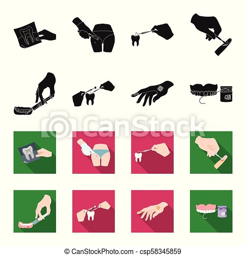 Anesthetic injection, dental instrument, hand manipulation, tooth cleaning and other web icon in black,flet style.bactericidal plaster, medicine icons in set collection. - csp58345859