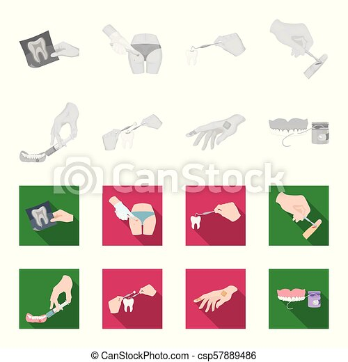 Anesthetic injection, dental instrument, hand manipulation, tooth cleaning and other web icon in monochrome,flat style.bactericidal plaster, medicine icons in set collection. - csp57889486