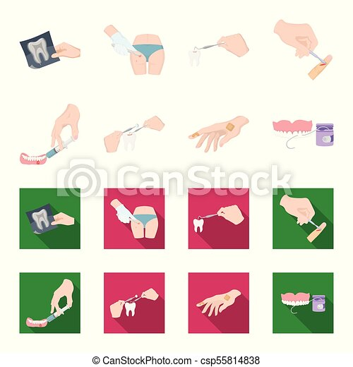 Anesthetic injection, dental instrument, hand manipulation, tooth cleaning and other web icon in cartoon,flat style.bactericidal plaster, medicine icons in set collection. - csp55814838