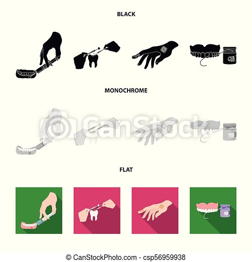 Anesthetic injection, dental instrument, hand manipulation, tooth cleaning and other web icon in black, flat, monochrome style.bactericidal plaster, medicine icons in set collection. - csp56959938