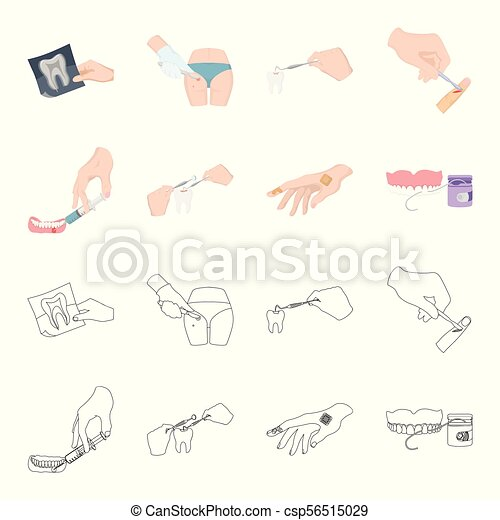 Anesthetic injection, dental instrument, hand manipulation, tooth cleaning  and other web icon in cartoon,outline style bactericidal plaster, medicine