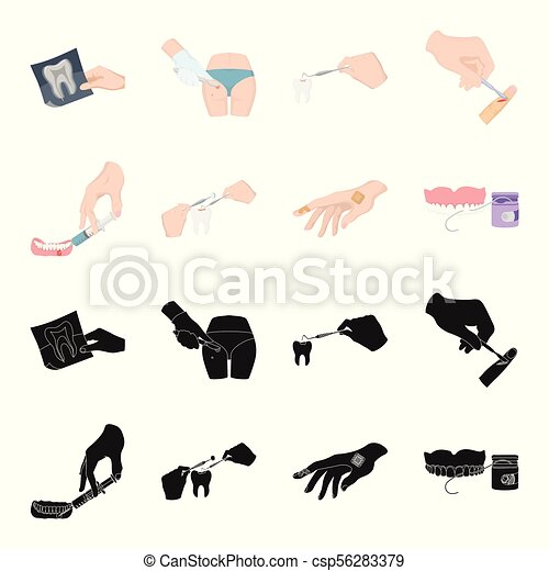 Anesthetic injection, dental instrument, hand manipulation, tooth cleaning and other web icon in black,cartoon style.bactericidal plaster, medicine icons in set collection. - csp56283379