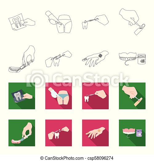 Anesthetic injection, dental instrument, hand manipulation, tooth cleaning and other web icon in outline,flat style.bactericidal plaster, medicine icons in set collection. - csp58096274