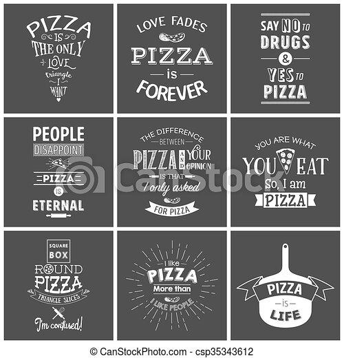 anföres, typografiska, pizza, sätta, årgång - csp35343612