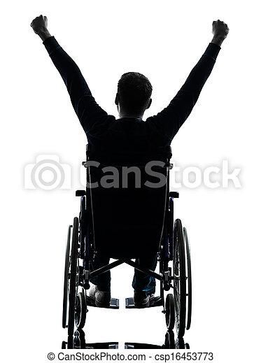 angehoben, silhouette, rollstuhl, arme, behindertes, mann, hintere ansicht - csp16453773