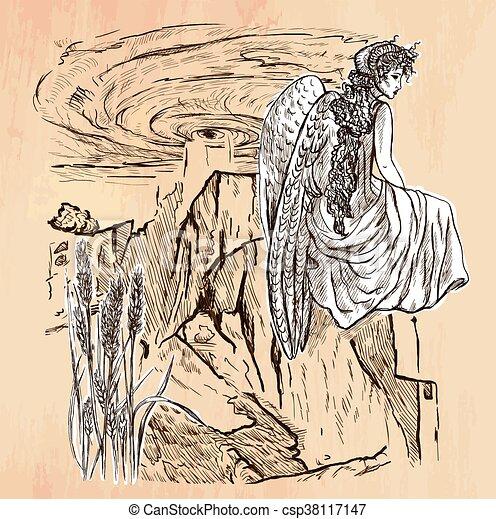 Angel - An hand drawn vector - csp38117147