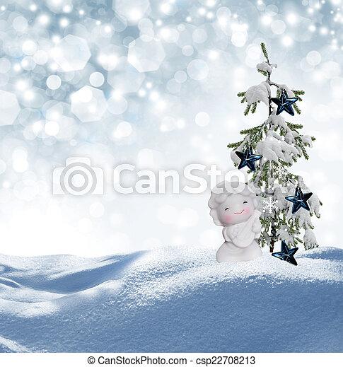 Angel and Christmas tree - csp22708213