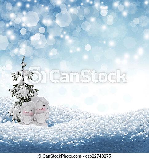 Angel and Christmas tree - csp22748275