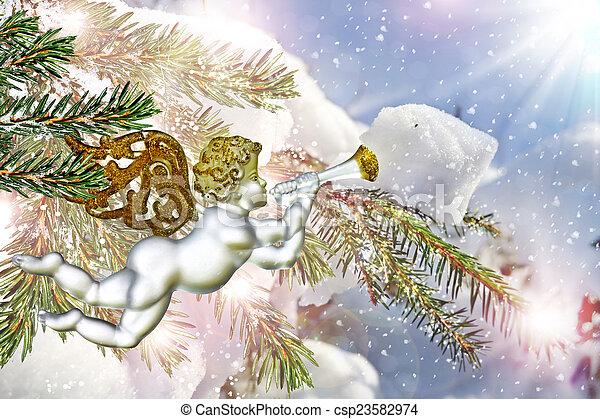 Angel and Christmas tree - csp23582974