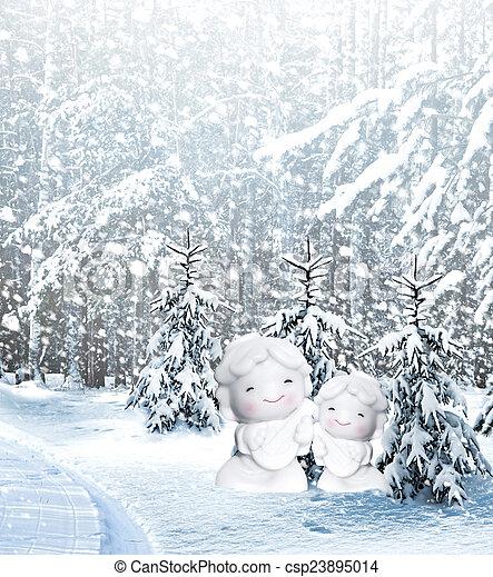 Angel and Christmas tree - csp23895014