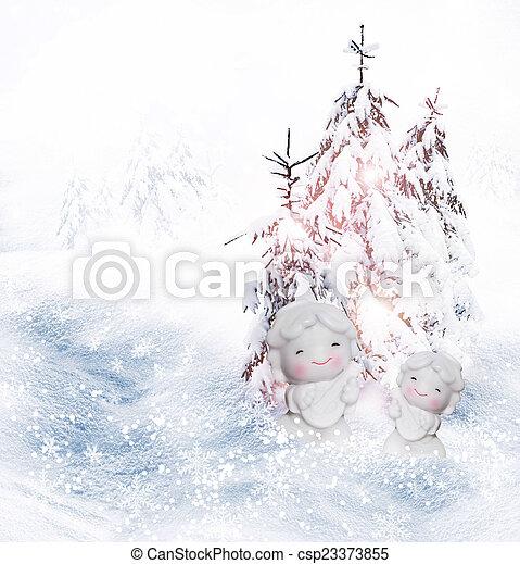 Angel and Christmas tree - csp23373855