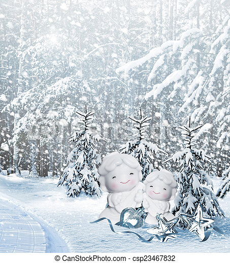 Angel and Christmas tree - csp23467832