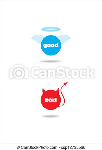 angel and devil symbol; good - bad - csp12735566