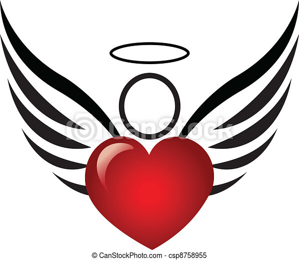 Angel and heart logo - csp8758955