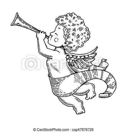 Angel Baby With Horn Engraving Style Vector Angel Baby With Horn