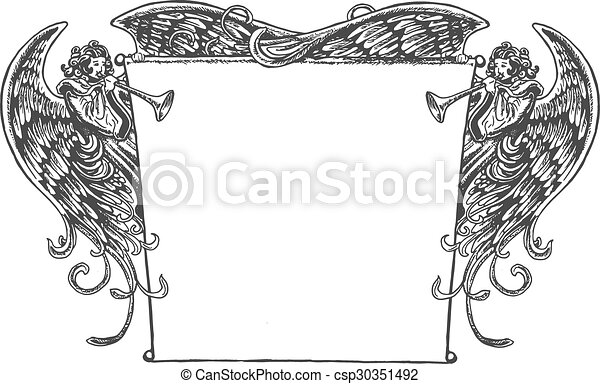 Angel Banner Vintage Style Old Fashioned Drawing Of Angels Eps