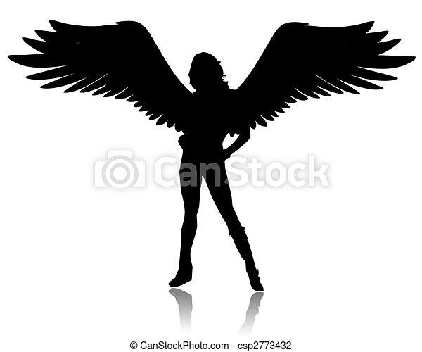 illustration of a black angel on a white background clip art rh canstockphoto com black white angel clipart black angel clipart free