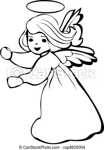 Angel dancing silhouette logo - csp8630004