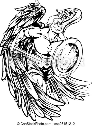 Angel Drawing An Illustration Of A Warrior Angel