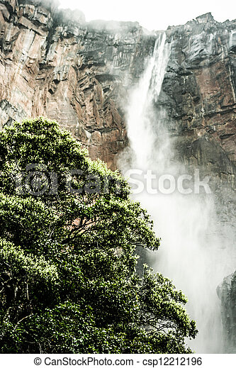 Angel Falls ( Salto Angel ) is worlds highest waterfalls (978 m), Venezuela - csp12212196