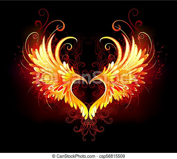 Angel fire heart with wings - csp56815509