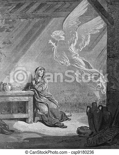 Angel Gabriel and the Mary. Annunci - csp9180236
