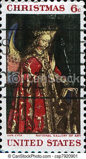 Angel Gabriel from The Annunciation, Jan Van Eyck - csp7920901