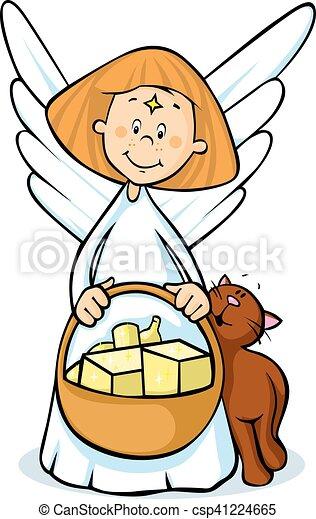 angel hold basket - vector illustration - csp41224665