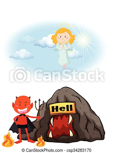 Angel in heaven and devil in hell - csp34283170