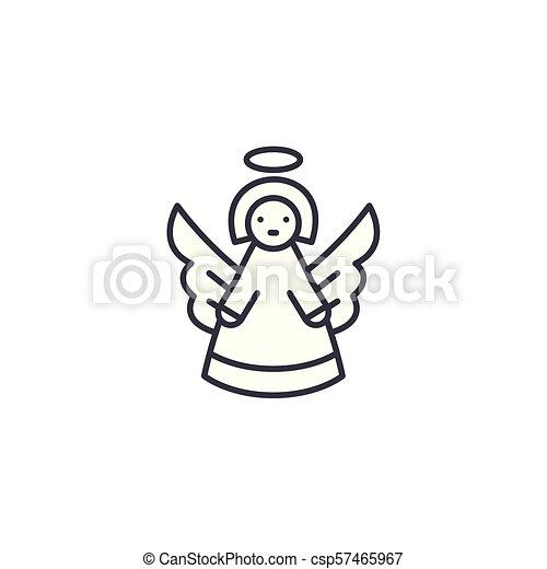 Angel linear icon concept. Angel line vector sign, symbol, illustration. - csp57465967