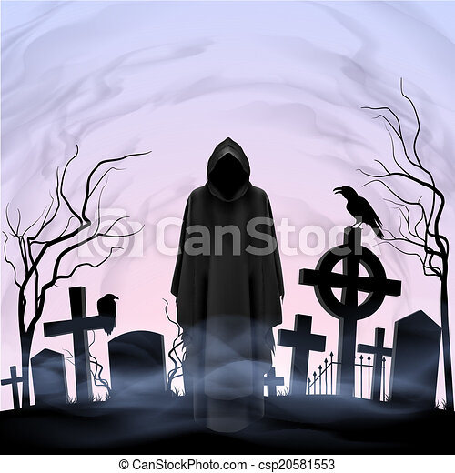 Angel of death in the cemetery - csp20581553