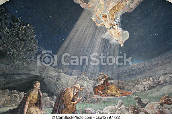 Angel of the Lord visited the shepherds and informed them of Jesus' birth, Bethlehem, Church at the Shepherds' Fields - csp12797722