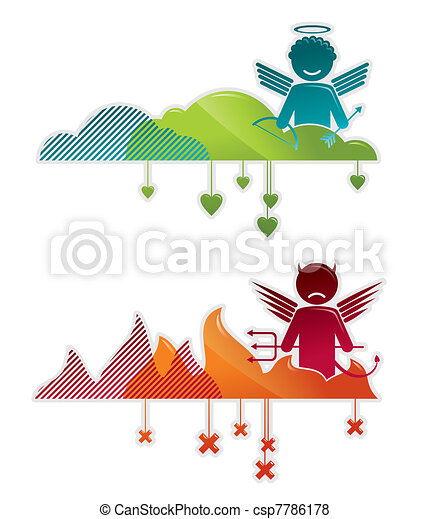 Angel on heaven & devil in hell - concepts vector illustration - csp7786178