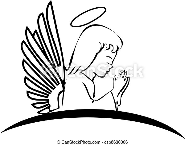 Angel praying creative logo - csp8630006