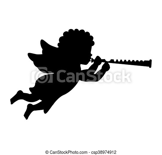 angel silhouette character icon - csp38974912