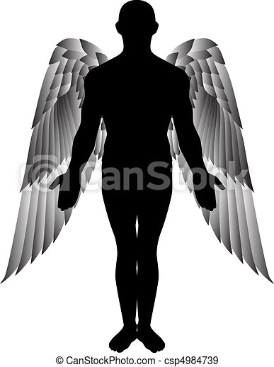 angel silhouette - csp4984739