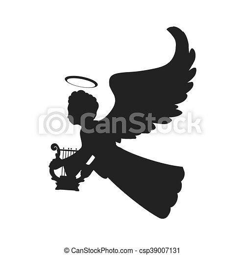 angel silhouette fairy wing heaven icon. Vector graphic - csp39007131