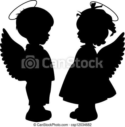 Angel silhouettes set - csp12034682