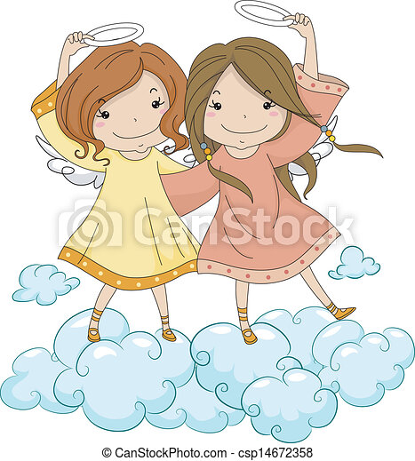 Angel Sisters Holding Their Halo - csp14672358