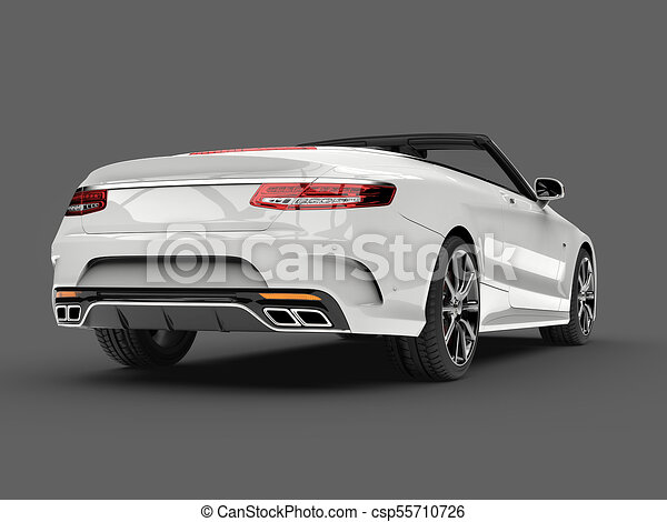 angel white modern luxury convertible car low angle back view csp55710726 - Convertible Angle