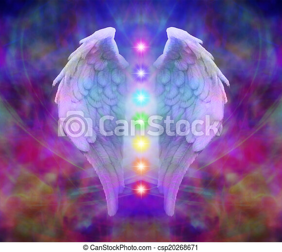 Angel wings and seven chakras  - csp20268671