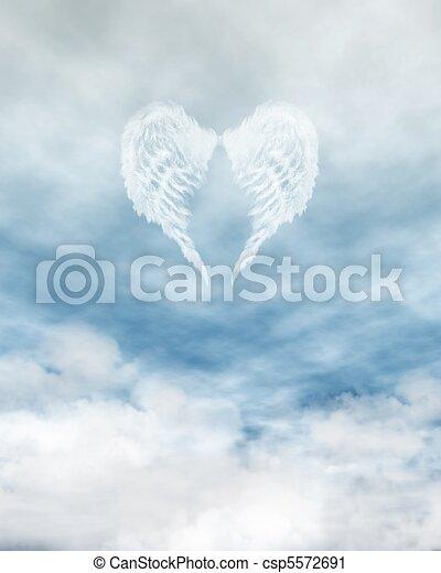 Angel Wings in Cloudy Blue Sky - csp5572691