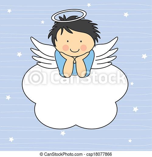 Angel wings on a cloud - csp18077866