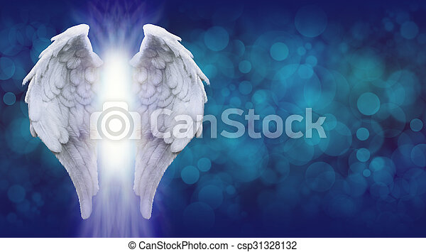 Angel Wings on Blue Banner  - csp31328132