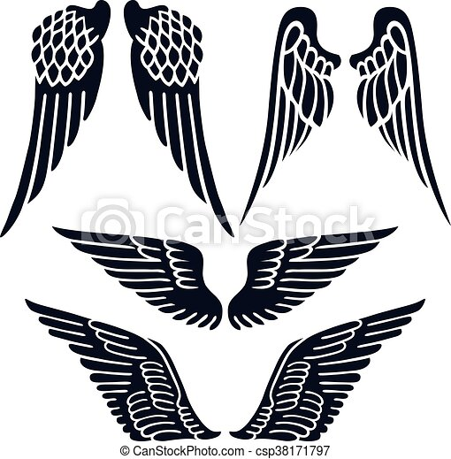 angel wings set silhouette isolated on background vector eps rh canstockphoto com wings vector free wing vector designs