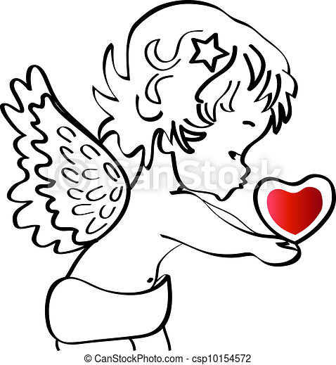 Angel with a heart vector stock - csp10154572