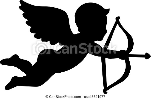 Angel with bow and arrow - amor - csp43541977