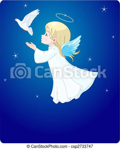 Angel with dove - csp2733747