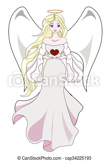 angel with heart - csp34225193